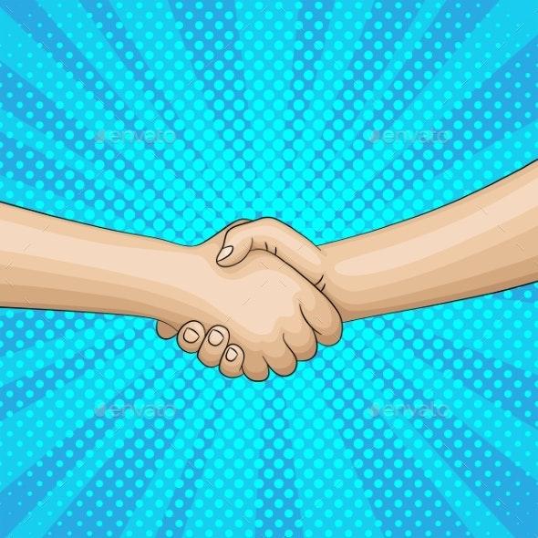 Pop Art Retro Handshake - People Characters