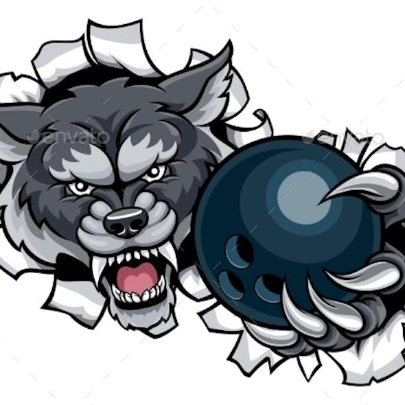 Wolf Bowling Mascot Breaking Background