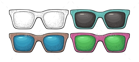Collection of Different Color of Retro Sunglasses - Man-made Objects Objects