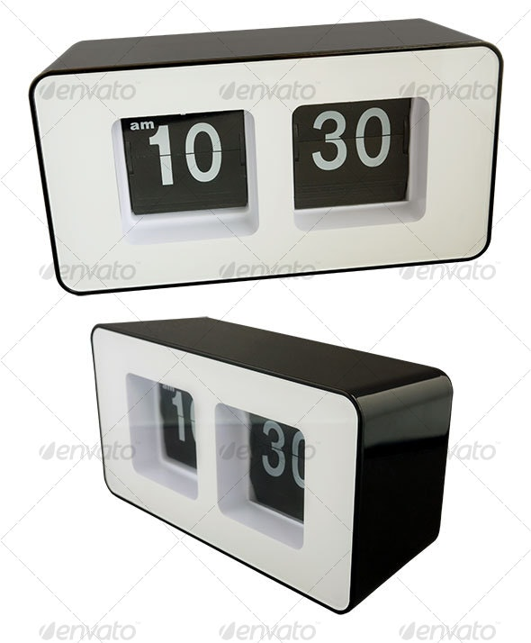 Flip clock - black/white - Home & Office Isolated Objects