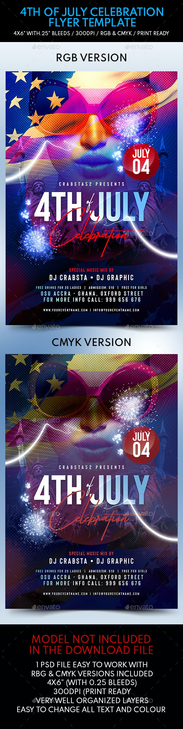 4th of July Celebration Flyer Template - Flyers Print Templates