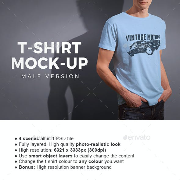 Male T-shirt Mock-up
