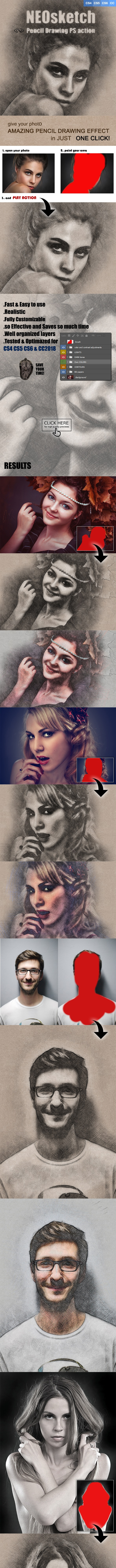 NEOsketch Pencil Drawing Photoshop Action - Photo Effects Actions