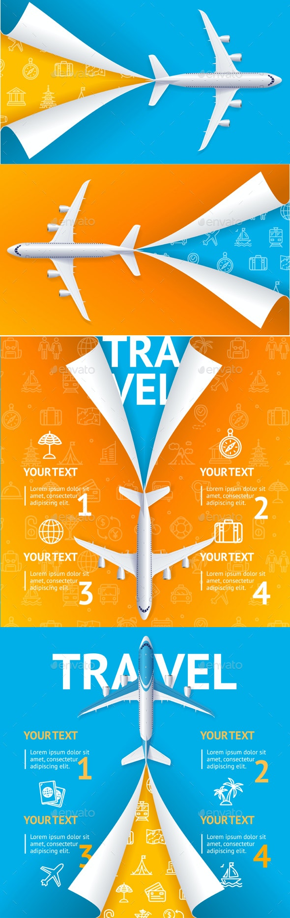 Realistic Detailed Airplane Travel Concept Flyer Set - Travel Conceptual