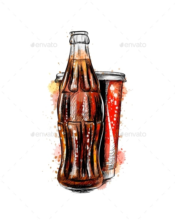 Glass Soda Bottle and Glass - Food Objects