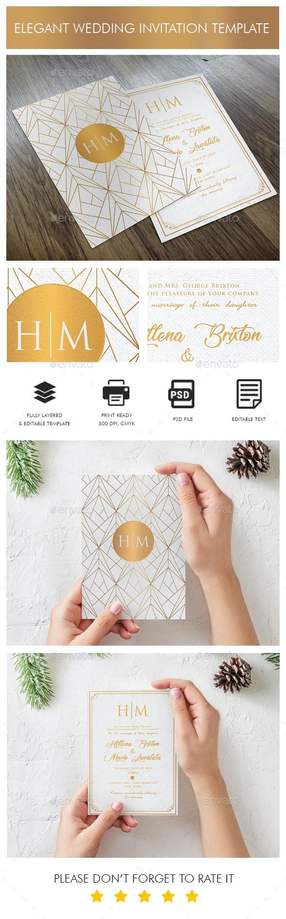 Elegant Wedding Invitation Template - Wedding Greeting Cards