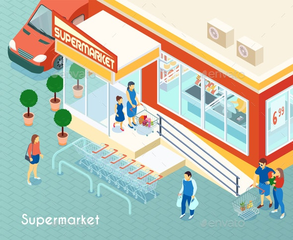Supermarket Outdoor Isometric Background - Food Objects