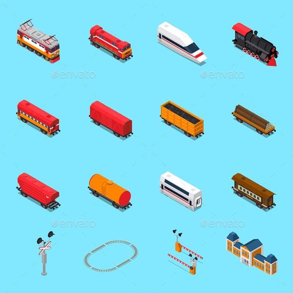 Railroad Isometric Elements - Miscellaneous Vectors