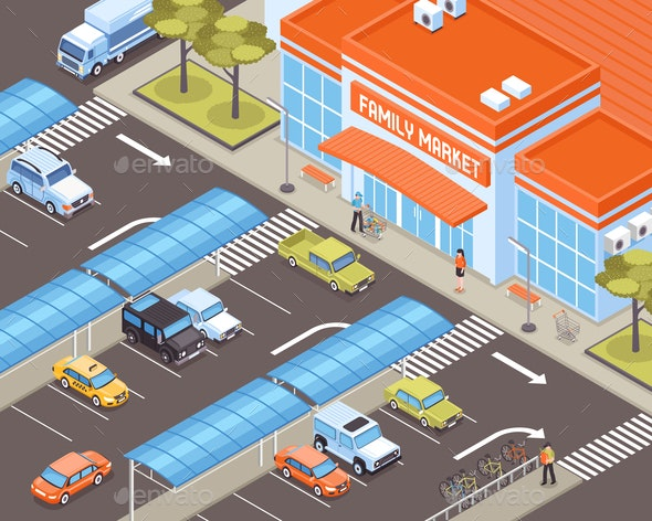 Isometric Transport Illustration - Buildings Objects