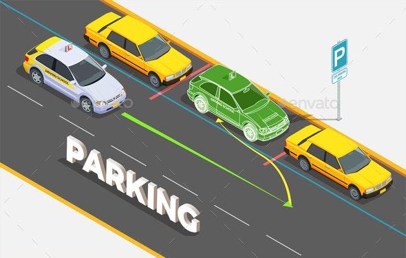 Parking Isometric Background Concept - Miscellaneous Vectors