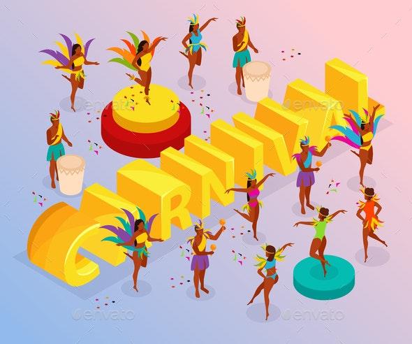Brazilian Carnival Isometric Illustration - People Characters
