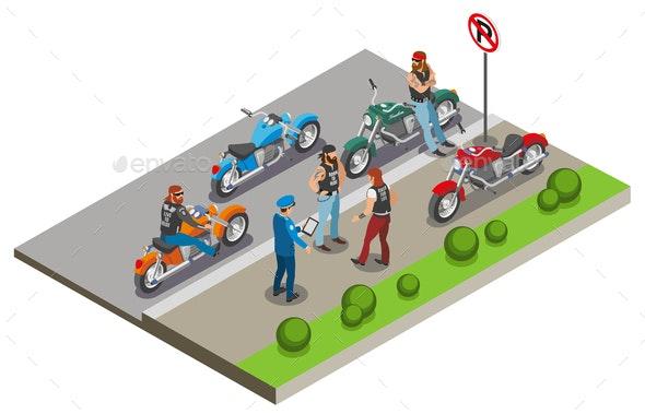 Bikers Meeting Isometric Composition - Miscellaneous Vectors