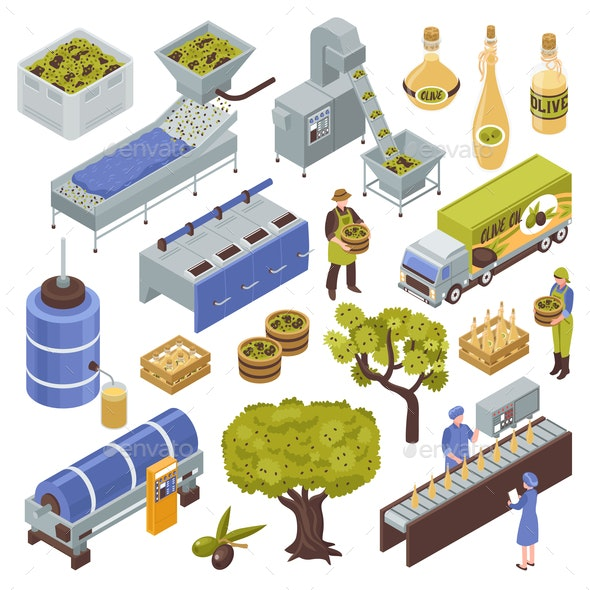 Olive Production Set - Food Objects