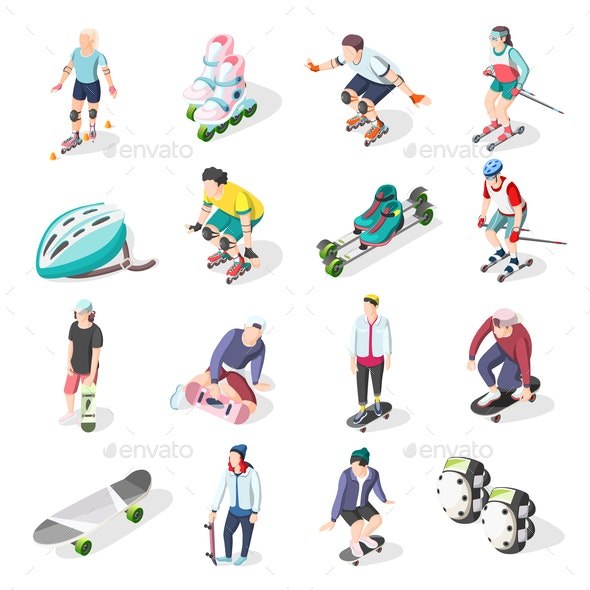 Roller and Skateboarders Isometric Icons - Sports/Activity Conceptual