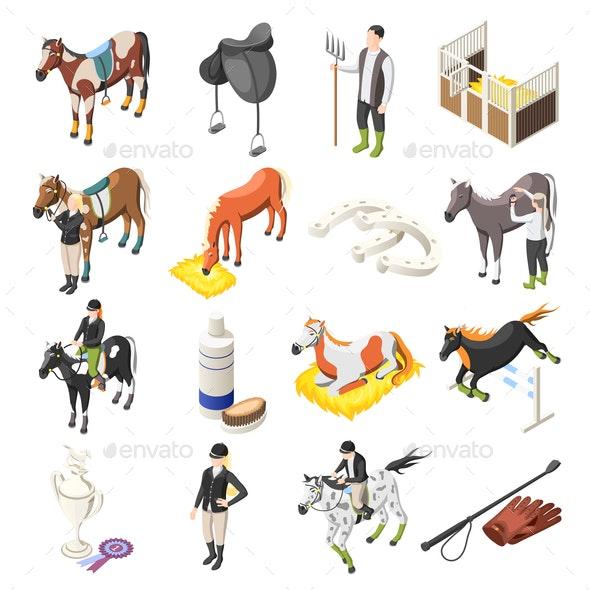Horse Riding Isometric Icons Set - Sports/Activity Conceptual