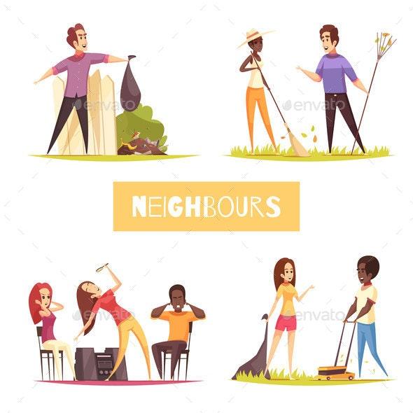 Neighbors 2x2 Design Concept - People Characters