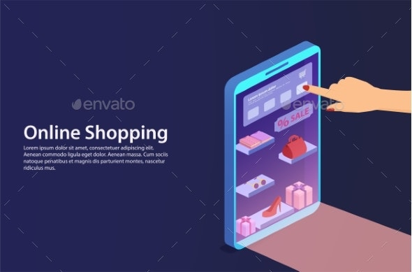 Concept Online Shopping From Smartphone. - People Characters