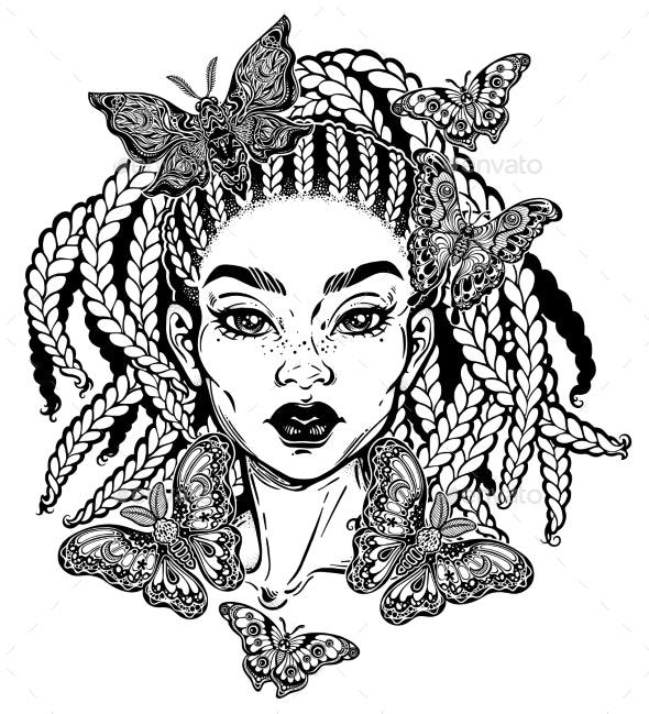 Hispanic Latin or African American Girl - People Characters