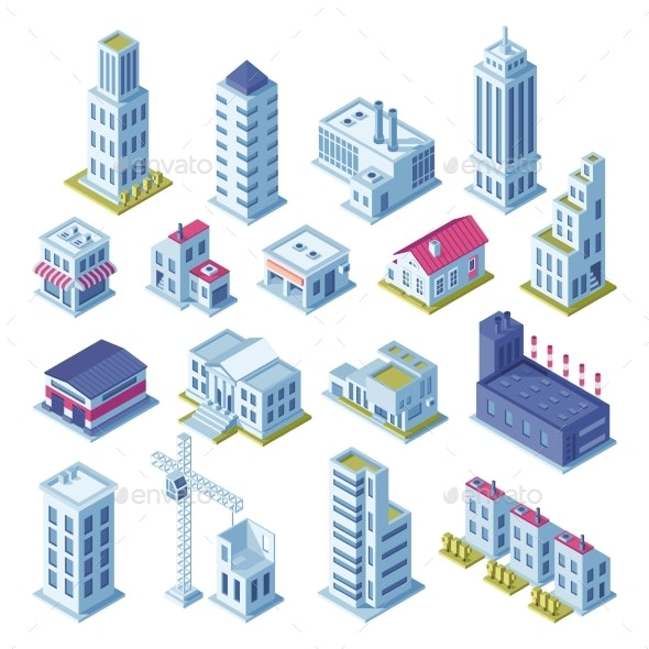 City Buildings 3d Isometric Projection for Map - Buildings Objects