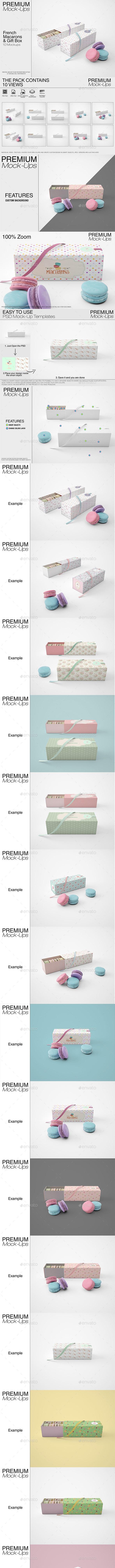 French Macarons & Gift Box Mockup Pack - Print Product Mock-Ups