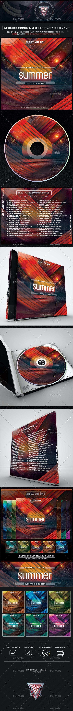 Electronic Summer Sunset Photoshop CD/DVD Template - CD & DVD Artwork Print Templates