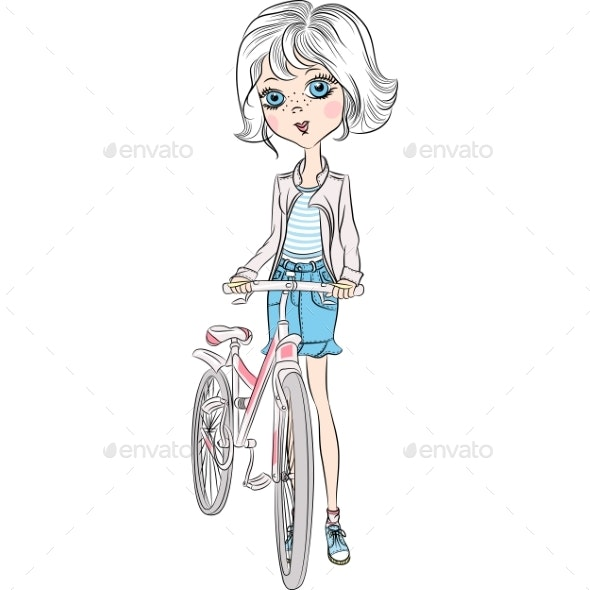 Vector Girl with Bicycle - People Characters