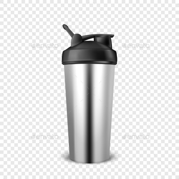 Vector Realistic Empty Glossy Metal Shaker - Man-made Objects Objects