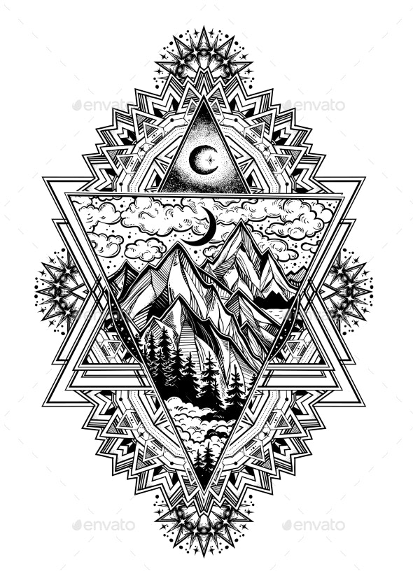 Decorative Ornate Frame with Triangle Art - Landscapes Nature