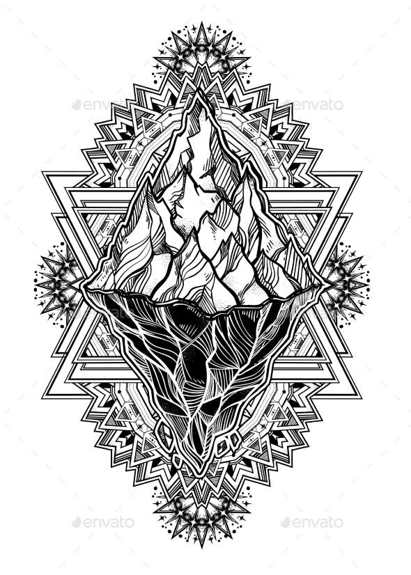 Hand Drawn Beautiful Iceberg, Sky in Geometric - Landscapes Nature