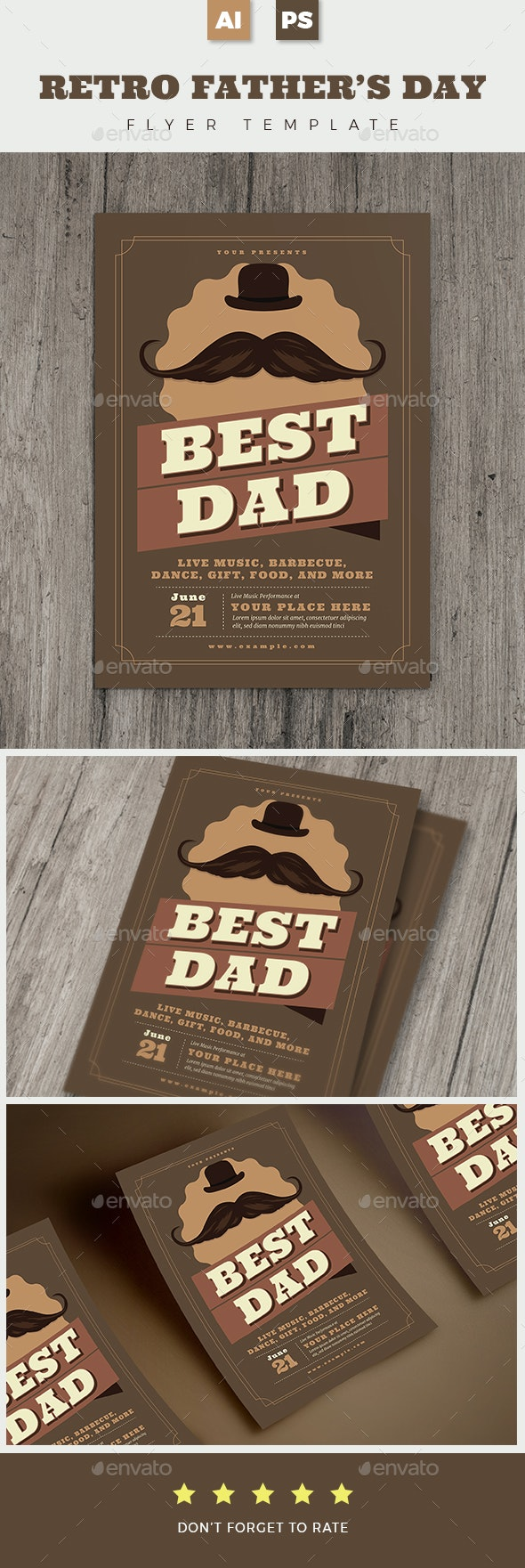 Retro Father's Day Flyer - Holidays Events