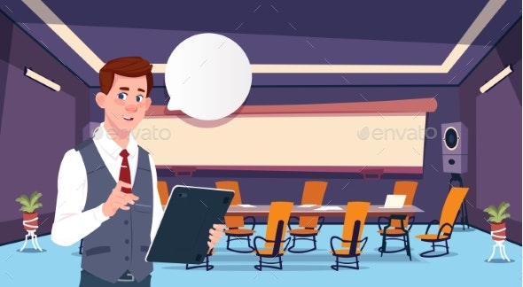 Businessman Holding Tablet Bubble Concept Business - People Characters