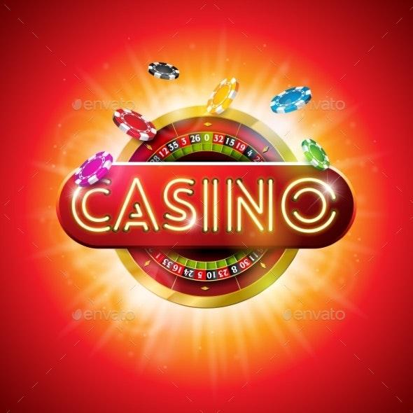 Casino Illustration with Shiny Neon Light Letter - Miscellaneous Vectors