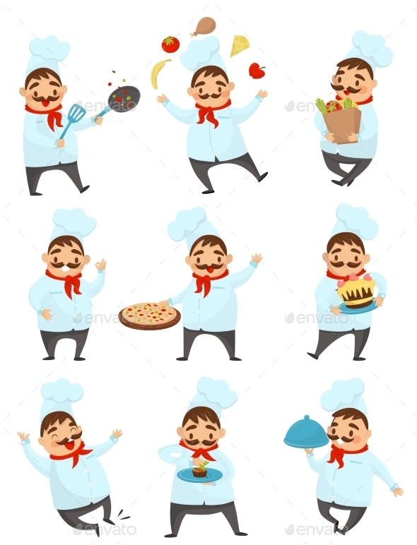 Flat Vector Set with Chef - People Characters