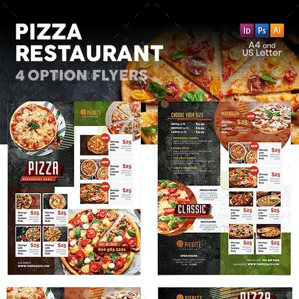 Pizza Restaurant Menu Flyers 3 – 4 Options