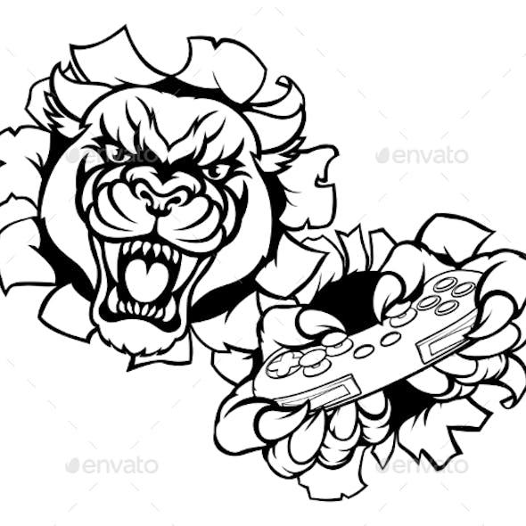 Black Panther Animal Gamer Mascot