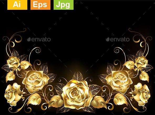 Black Background with Gold Roses - Flourishes / Swirls Decorative