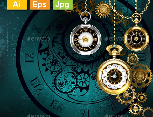 Clock with Gears on Green Background - Backgrounds Decorative