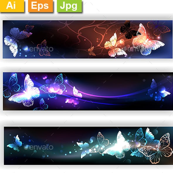 Three Banners with Night Butterflies