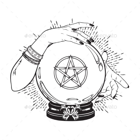 Crystal Ball with Pentagram in Hands of Gypsy