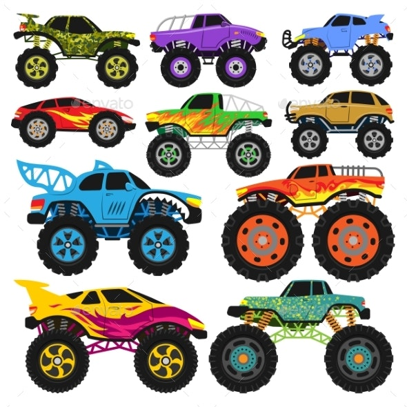 Monster Truck Vector Cartoon Vehicle or Car - Man-made Objects Objects