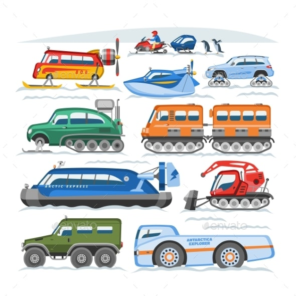 Snow Truck Vector Winter Vehicle or Snowmobiling - Man-made Objects Objects