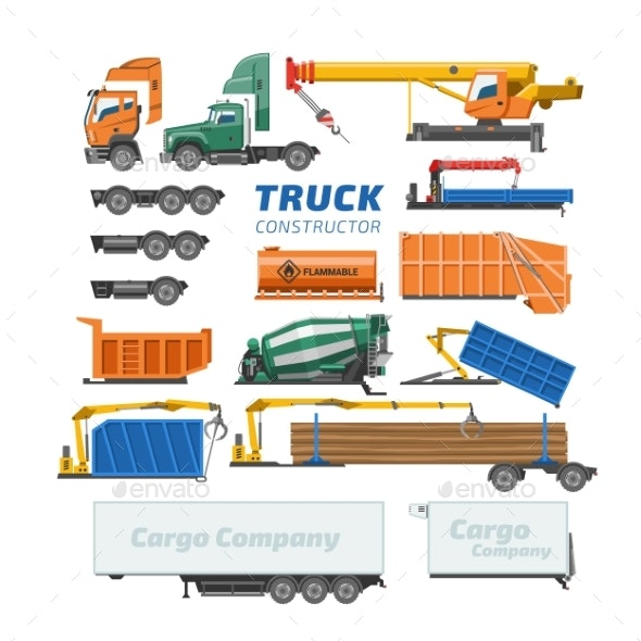 Truck Constructor Vector Delivery Vehicle or Cargo - Man-made Objects Objects