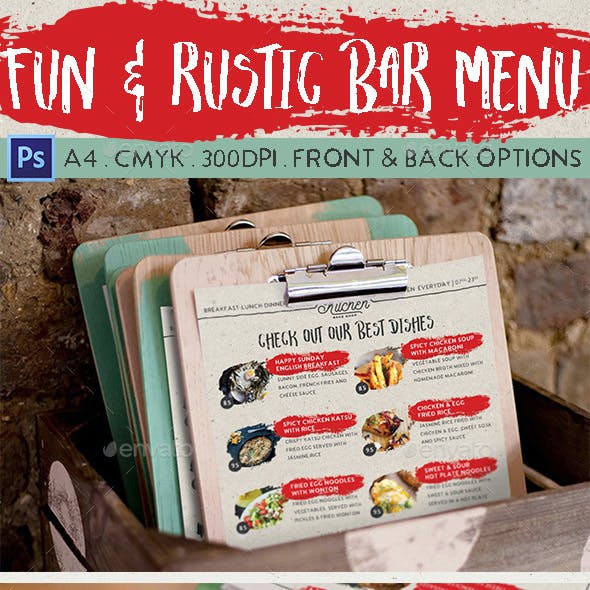Fun & Rustic Bar Menu