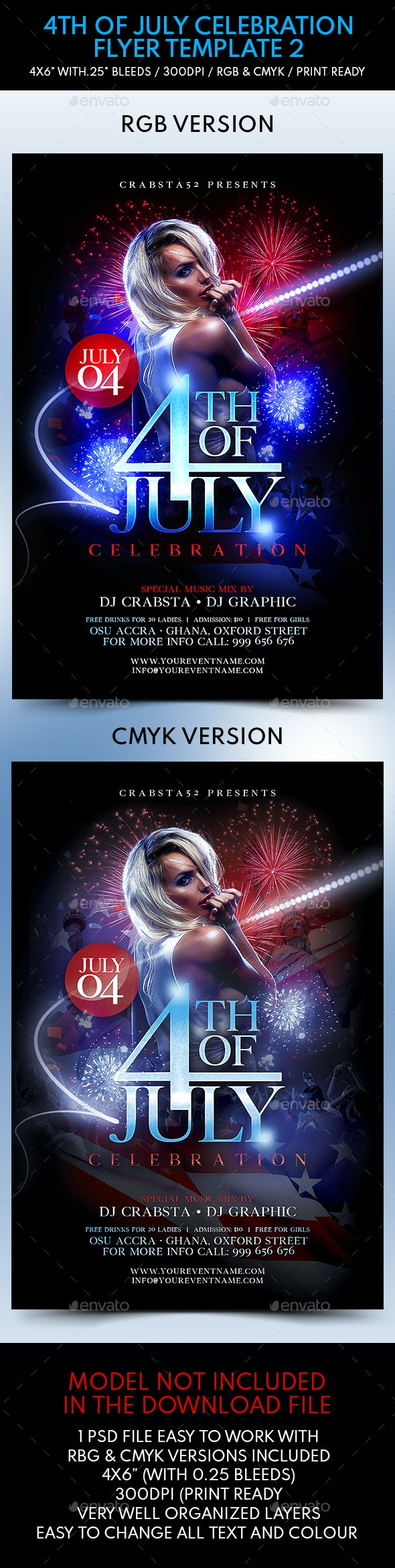 4th of July Celebration Flyer Template 2 - Flyers Print Templates
