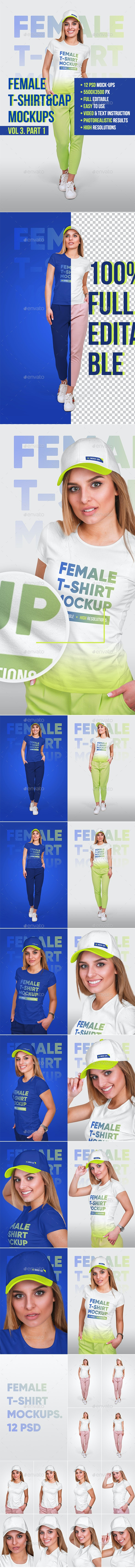 Female T-Shirt and Baseball Cap Mockup Vol3. Part 1 - T-shirts Apparel