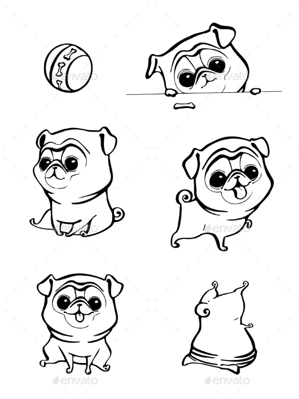 Cartoon Character Pug Dog Poses - Animals Characters