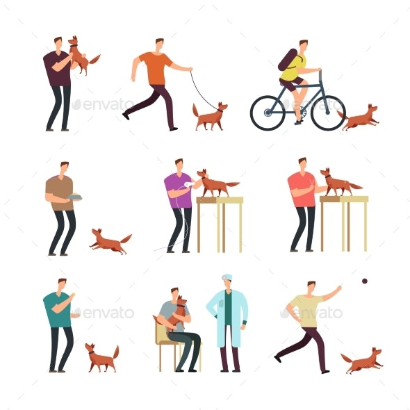Man with Dog in Daily Routine - People Characters