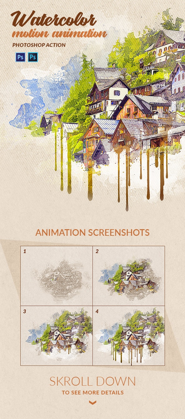 Watercolor Motion Photoshop Action - Photo Effects Actions