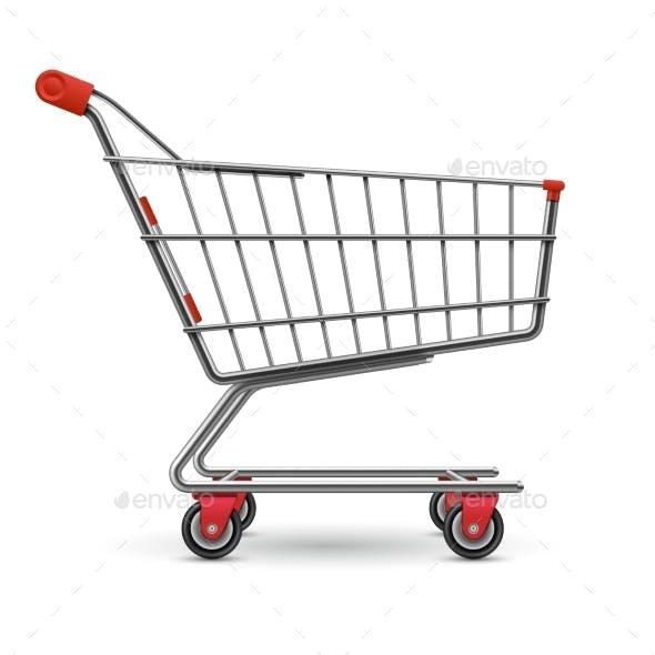 Realistic Empty Supermarket Shopping Cart Vector