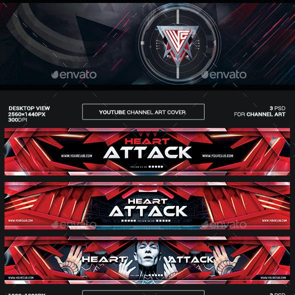 Heart Attack Youtube Channel Art/Video Thumbnail and Ending Video Template